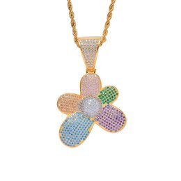 $enCountryForm.capitalKeyWord Australia - Sun Flower Pendant Necklace For Men 2019 New Fashion Hiphop Jewelry 18K Gold Plated Ice Out Colorful CZ Hip Hop Necklaces