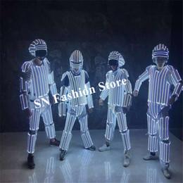 M25 Festa usa trajes de modelo de palco levou iluminado roupas luminosas dj robô homens terno bar RGB capacete vestir armadura colorida jaqueta mostra veste venda por atacado