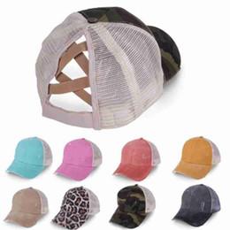 Ponytail Baseball Caps Washed Cotton Messy Buns Hats Summer Trucker Pony Cap Unisex Visor Cap Hat Outdoor Snapbacks ZZA2393 50Pcs on Sale