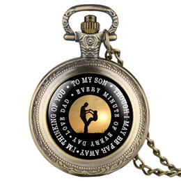 "Unique Wholesale Analog Watches Australia - ""To MY SON"" Laser Word Quartz Pocket Watch Necklace Unique Clock Chain Boy Pendant Souvenir Birthday Gifts for Kids Boy Men Son"