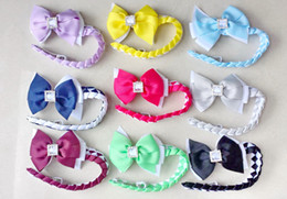 Synthetic Bow Hair Clips Australia - 20pcs girl Synthetic hair Bun wraps bows clips with square crystal buckles Ponytail Holder Donut Ring Head Wrap Hairband Headband PD020