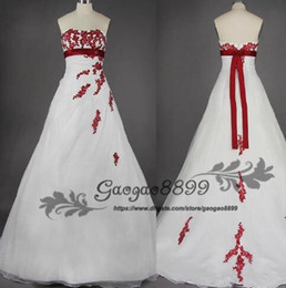 Hand model designing online shopping - 2019 Vintage Design White and Red Wedding Dresses Strapless High Empire Waistline Appliques Lace A Line Bridal Gowns Custom Size cheap
