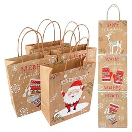 kraft christmas bag Australia - Merry Christmas Kraft Paper Bag Santa Claus Gift Bags Candy Bag Christmas Party Supplies Each Random Shipment