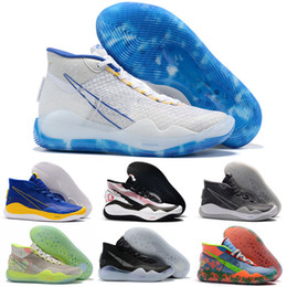 shoes new zoom kd Australia - 2019 NEW KD Kevin Durant 12 Basketball Shoes Sneakers Zoom Eybl The Day One Dub Nation Warriors Home University Blue Men Designers Shoes