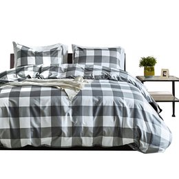 Pink grey king bedding online shopping - Bedding Set Luxury Adult Soft Duvet Cover Set Plaid Modern Black White Grey Twin King Queen Size Winter Comforter Bed