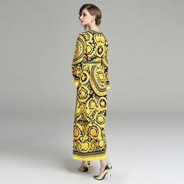 $enCountryForm.capitalKeyWord NZ - 2019 spring new women's temperament color V-neck long skirt loose waistband long-sleeved V-neck printed mid-rise dress