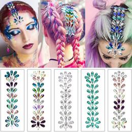 $enCountryForm.capitalKeyWord Australia - 3D Hair Crystal Jewelry Accessories Fashion Multi Diamond Rhinestone for Woman Body Art Wedding Bohemia Style Temporary Tattoo Sticker Decor