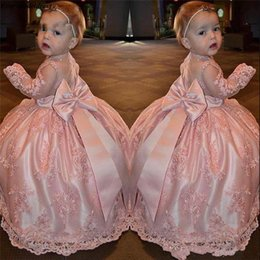 little pageant dresses color NZ - Lovely Tutu Lace Long Sleeve Bow Flower Girls Pageant Dress Little First Communion Dress Kids Infant toddler Party Wear Flower Girls Dresses