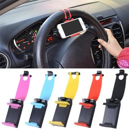 Wholesale universal Car Steering Wheel cell phone Holder Telescopic Clip car Mount GPS Navigation bracket for iphone Samsung cm cell phone