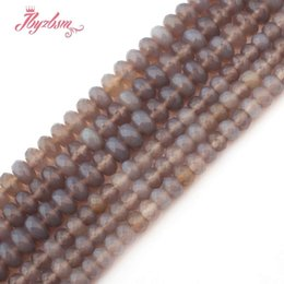 "$enCountryForm.capitalKeyWord UK - 3x6 4x8mm Faceted Gray Agates Stone Rondelle Spacer Loose Beads for DIY Necklace Bracelet Jewelry Making Strand 15""Free Shipping"