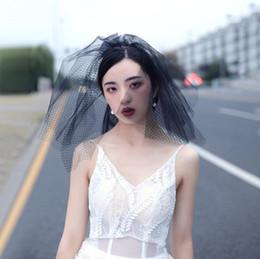 Black Veils Australia - New retro travel street shoot black short fluffy small veil diamond mesh headwear COS bridal veil