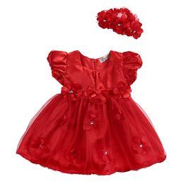 Flowers Girl Dresses Wedding UK - Cute Baby Girls Tutu Lace Flower Princess Dress+ Headwear Pageant Floral Ball Wedding Bridesmaid Infant Dress
