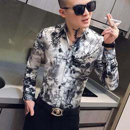 Wholesale slim fit work shirts resale online - Social Casual Shirt Men Long Sleeve Slim Fit Dress Shirts Designer High Quality Streetwear Night Club Work Male Clothing Camisa
