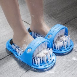 Rubbing bRush foot online shopping - 2pcs Easy Feet Bath Massager Brush Scrub Clean Shower Blue Plastic Bathroom Foot Washing Slipper Rubbing Hollow Out
