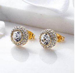 Gold Color Crystals Australia - Cdyle Unique Metal Stud Earrings With Crystals from Swarovski Trendy Gold Color Round Statement Earrings for Women Free Shipping