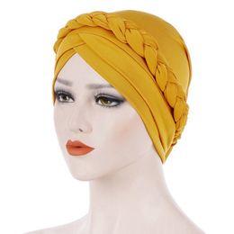 Braiding hair cap online shopping - 1PC Vintage Bandana Scarves Muslims Clothing Muslim Turban Wraps Women Solid Color Hijab Braids Caps Female Hair Accessories