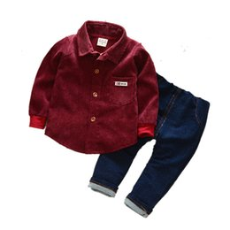 81751367352 2019 autumn children s clothing children s suit baby new cotton shirt boys  set 0-1-2-3 years old tide