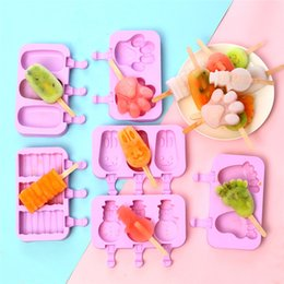 $enCountryForm.capitalKeyWord Australia - Silicone Popsicle Moulds Diy Ice Cream Stick Molds Cartoon With Cover Mold Hot Selling With Different Styles 4 9sk J1