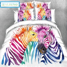 zebra print bedding Australia - BEST.WENSD Art Animal Bedding Set Watercolor zebra Printed Duvet Cover +Pillowcases Home Textiles 3pcs Bedclothes Single,double