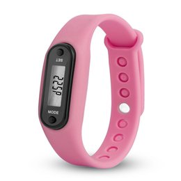 Silicone Sport pedometer watch online shopping - Digital Pink LCD Watch Run Step Walking Distance Calorie Pedometer Silicone Calorie Sport Bracelet Watch for drishipping N0807