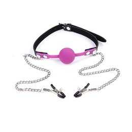 Fetish tools online shopping - in Mouth Plug with Nipple Clips Fetish Bondage Couple Flirting Foreplay SM Sex Tool
