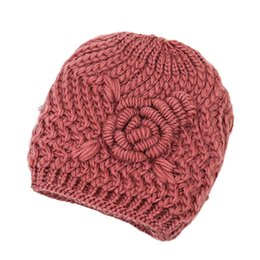 Old Winter Beanies NZ - Fashion Thicken Old Lady Flower Knitted Hat Winter Ear Head Wrap Beanie Cap