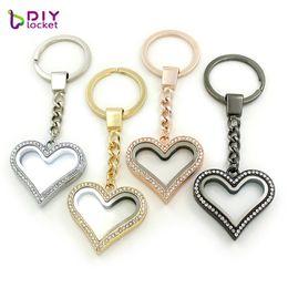 $enCountryForm.capitalKeyWord Australia - 3 Colors can choose Heart magnetic glass locket key chains 5pcs lot Wholesale Women jewelry Zinc Alloy+Rhinestone LSFK06*5