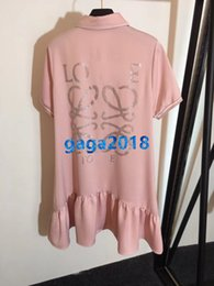 Tee Shirt Skirt Australia - women girl shirt dress crystal letter motif lapel neck short sleeve long t-shirt tee mini midi skirt high-end custom runway mermaid dresses