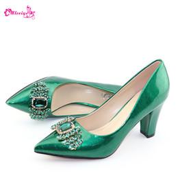 $enCountryForm.capitalKeyWord Australia - Latest Green Color Shoes African Women Wedding Shoes High Quality Elegant Italian Women Shoes with Stone High Heels Women Pumps