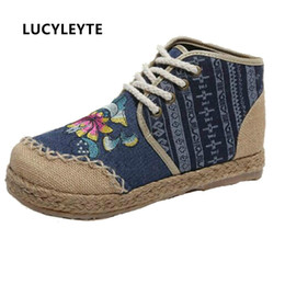 $enCountryForm.capitalKeyWord NZ - Boho Indian Women Shoes Thai Cotton Linen Canvas Floral Embroidered Cloth Single National Round Toe Lace Up Flat Shoes Woman