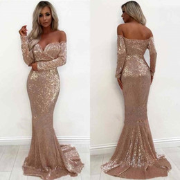 Wholesale 12 t shirts for sale – custom Shiny Rose Gold Mermaid Prom Dresses Elegant Off Shoulder Long Sleeve Evening Occasion Gowns Formal Wear