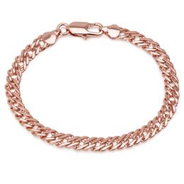 $enCountryForm.capitalKeyWord Australia - (380B) ( 19.5 cm * 6 mm) Rose Gold Plated Weave Chain Bracelets For Men Women Fashion Jewelry Lead and Nickel Free