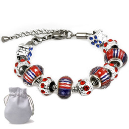 $enCountryForm.capitalKeyWord NZ - Luxury Designer Logo Women Diamond Charm Bracelets Fit Pandora s925 Silver Red Blue Crystal Glass Beads Bangle Lobster Clasp Jewelry P96