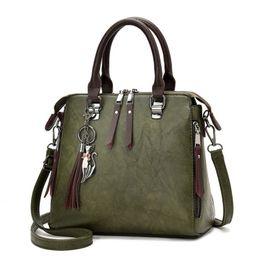 $enCountryForm.capitalKeyWord Australia - Vintage Leather Ladies Handbags Women Messenger Bags Totestassel Designer Crossbody Shoulder Bag Boston Hand Bags Hot Sale Y19061204