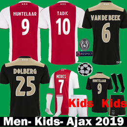 ed8341d2b Thai 2019 Ajax FC DE LIGT NOURI VAN DE BEEK Soccer Jerseys With Patch 18 19  Kids Kits ajax HUNTELAAR TADIC DOLBERG CRUYFF Football Shirts