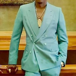 double breasted blue jacket mens UK - Mint Green Mens Wedding Suits Slim Fit Double Breasted Peaked Lapel Groom Wear Tuxedos Formal Work Prom Business Blazer (Jacket Pants )