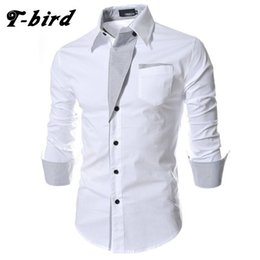 Discount red black striped shirt men - T-bird 2017 Dress Shirts Mens Brand Striped Shirt Cotton Slim Fit Chemise Long Sleeve Shirt Men Casual White Plus Size 3