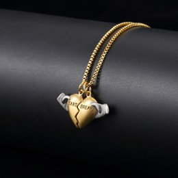 $enCountryForm.capitalKeyWord Australia - New Design Heart Broken Charm Chain Mens Womens Hip Hop Necklace Zinc Alloy Jewelry 18K Gold Plated Stainles Chains For Men Lovers Gifts