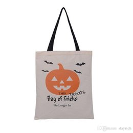 candy door gift Canada - Hot Sale Halloween Gift Bags Large Cotton Canvas Hand Bags PumpkinDevilSpider Printed Halloween Candy Gift Bags