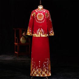 chinese style evening gowns NZ - Royal Qipao Embroidery Men Long Robe Gown Satin Chinese Style Costume Oriental Toast Clothing 2pcs Wedding Bridegroom Evening