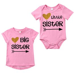 Wholesale Newborn Baby Kids Famliy Matching Suit Big Sister T shirt Little Sister Romper Kid Clothing