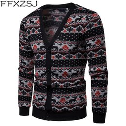 European Style Cardigan For Men Australia - FFXZSJ Autum Winter Patchwork Men Christmas Cardigan Single Breasted Sweaters for Male Long Sleeve Casual chompa para hombre #543318