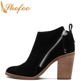 women black booties NZ - Black Ankle Boots High Chunky Heels Woman Almond Toe Double Zipper Booties Large Size 12 16 For Ladies Fashion Sexy Shoes Shofoo