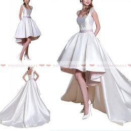 Short Wedding Gowns Australia - Scoop Neck Applique Satin Hi Lo Wedding Dresses With Sash 2019 New Short Beach Bridal Gowns Custom Formal Bride Dress Robe de mariée