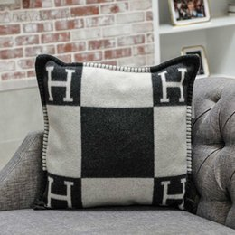 $enCountryForm.capitalKeyWord Australia - Brand Pillow Case H Letter Lattice Decorative Wool Blend Cover for Bed Office Body Sofa Cushion Knitted Plaid Pillowcase 45x45cm