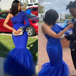 White shirt formal dress for girls online shopping - Royal Blue Mermaid Prom Dresses for South African Black Girls Sexy One Shoulder Lace Appliques Tulle Formal Evening Gowns