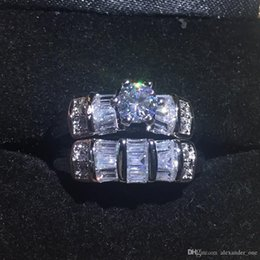 Cocktail Jewelry Sets Australia - wholesale Fashion 10KT white gold filled Wedding Rings Set For Women Six Claw Inlaid Simulated Diamond Zircon Cocktail Band Jewelry