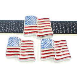charm wholesalers usa 2019 - 2019 New Arrival American National Flag Slide Charms Drop Oil USA Flag Sliders For 10mm Bracelet Wristband DIY Jewelry M