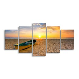 Art Canvas Prints Australia - 5 pieces high-definition print Sunrises and sunsets canvas prints painting poster and wall art living room picture RCRL5-006