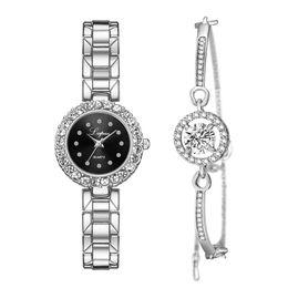 $enCountryForm.capitalKeyWord Australia - Bracelet Watches Set Women Gift Luxury Diamond Dial Jewelry Quartz Watches montre femme Lady Silver Steel Belt Watch reloj mujer
